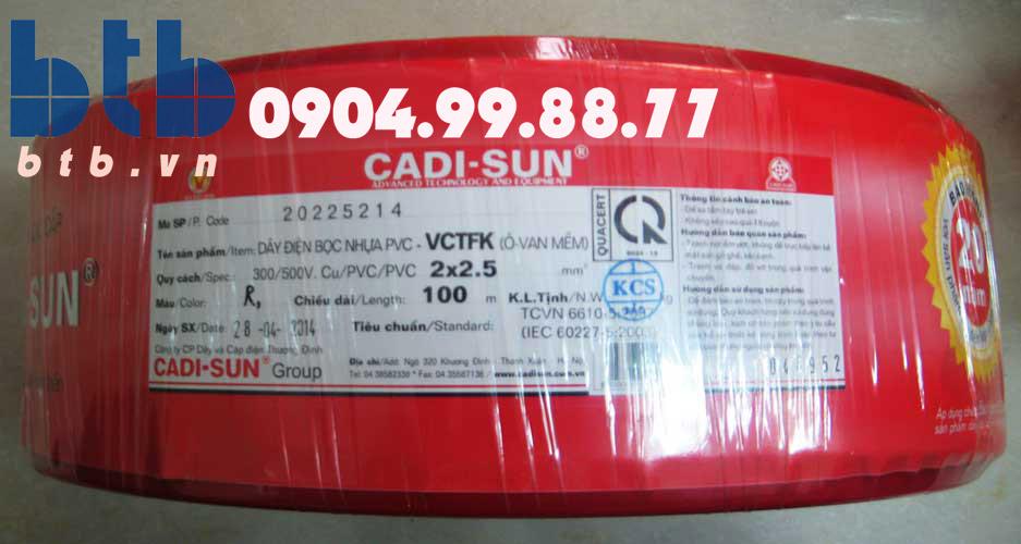 Cadisun Dây tròn mềm VCTF 3×4.0