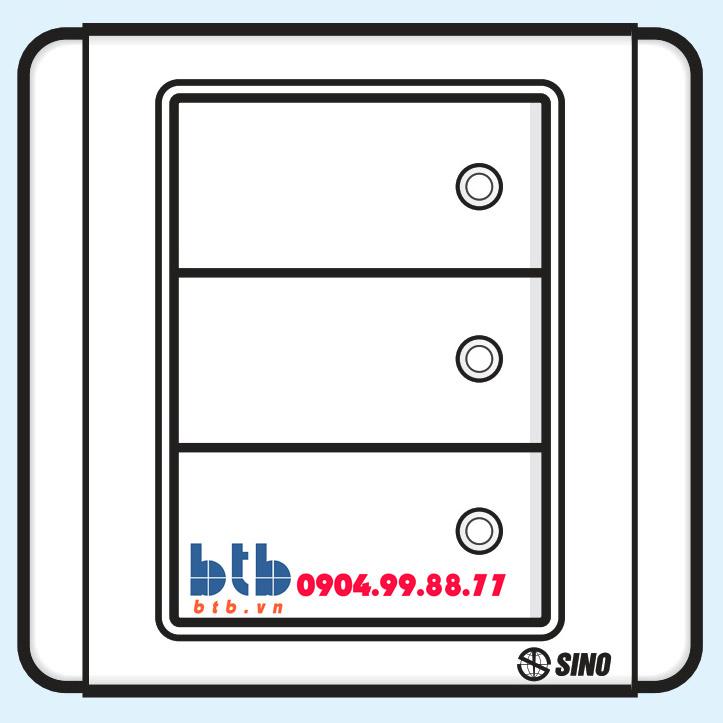 Sino S66D Công tắc ba 2 chiều phím lớn có đèn led trắng
