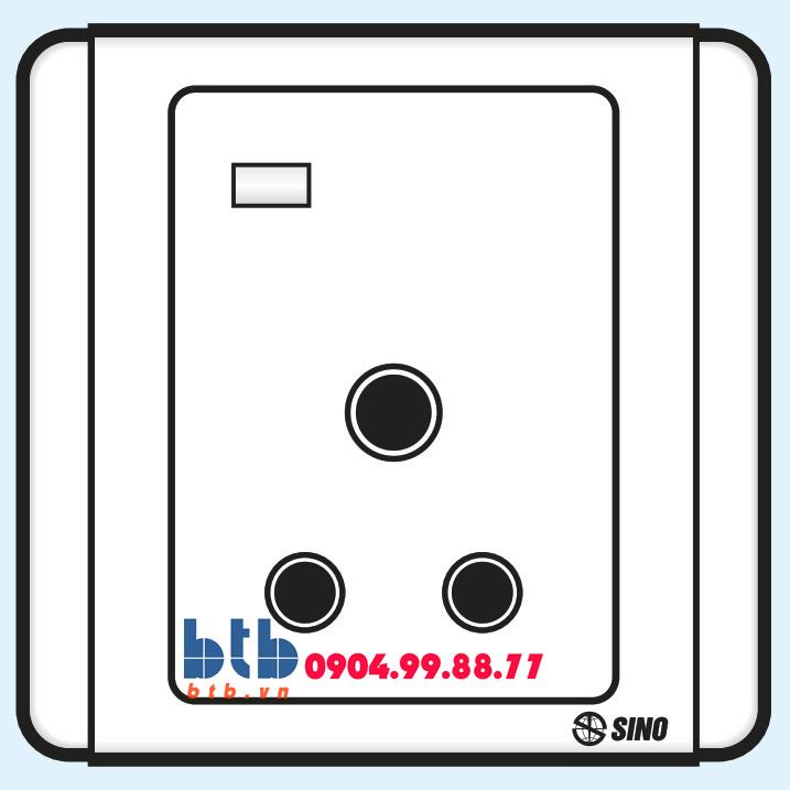 Sino S66E Công tắc 3 chấu tròn có đèn báo