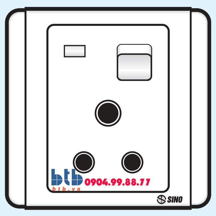 Sino S66E Công tắc 3 chấu tròn có công tắc và đèn báo