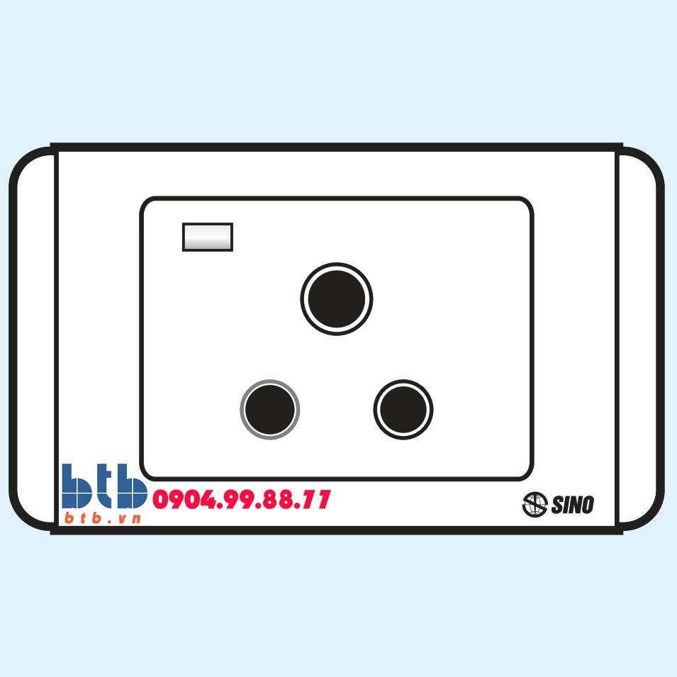 Sino S68E Công tắc 3 chấu tròn có đèn báo