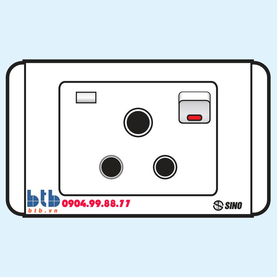 Sino S68E Công tắc 3 chấu tròn có công tắc + đèn báo
