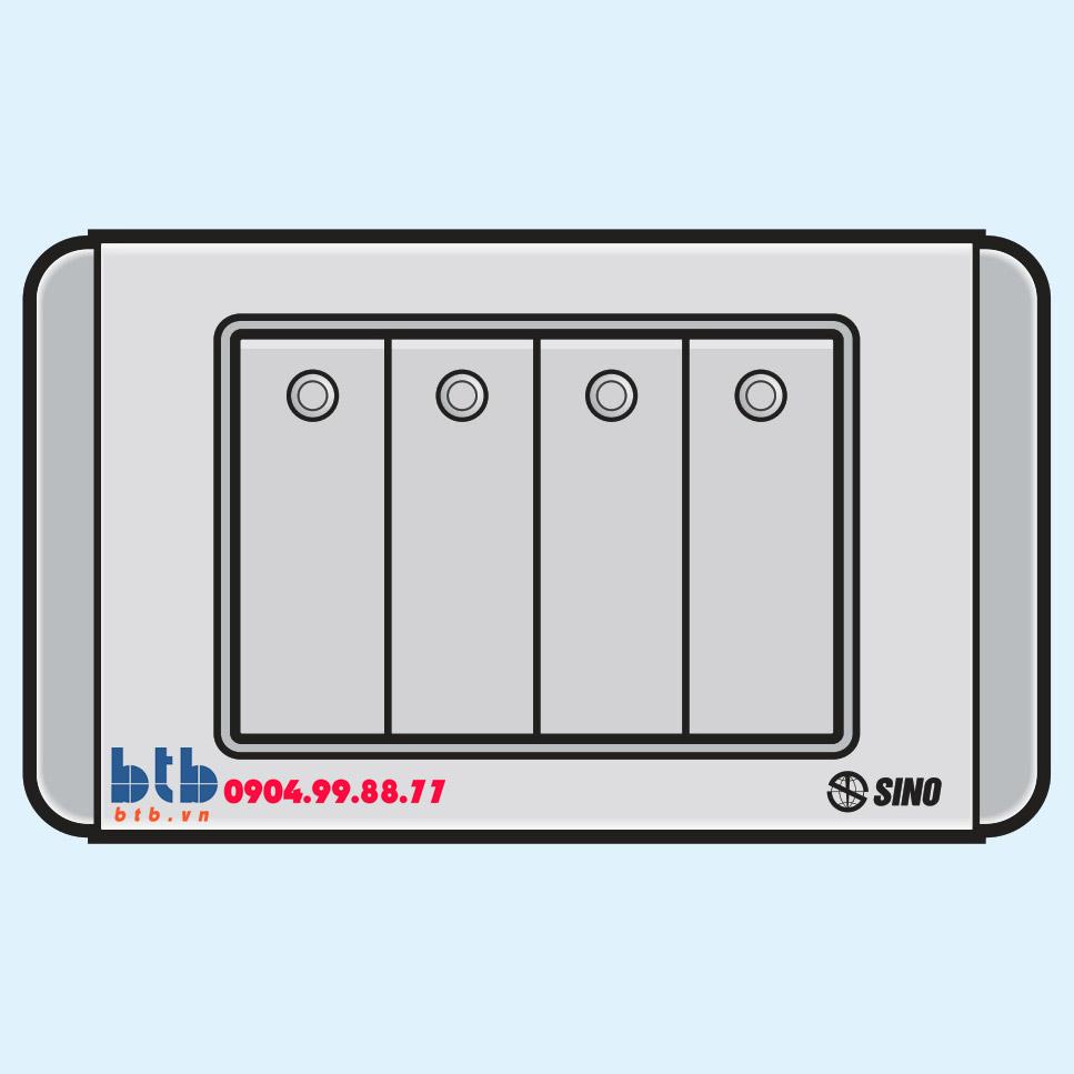 Sino S68GD Công tắc bốn 2 chiều phím lớn có đèn led xanh