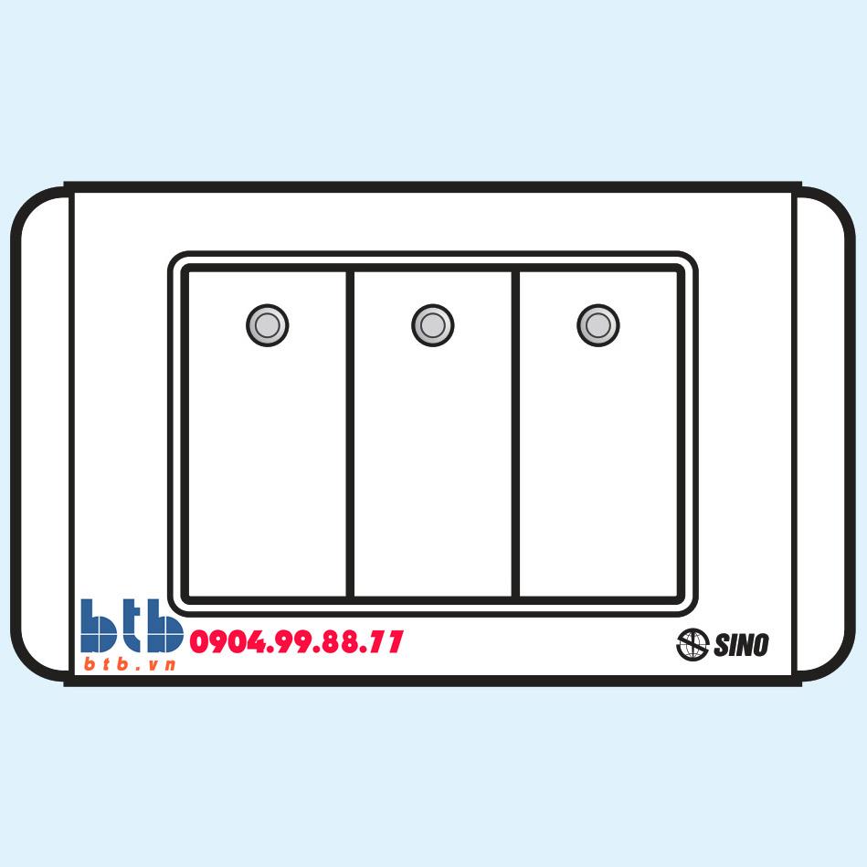 Sino S68D Công tắc ba 2 chiều phím lớn có đèn led trắng