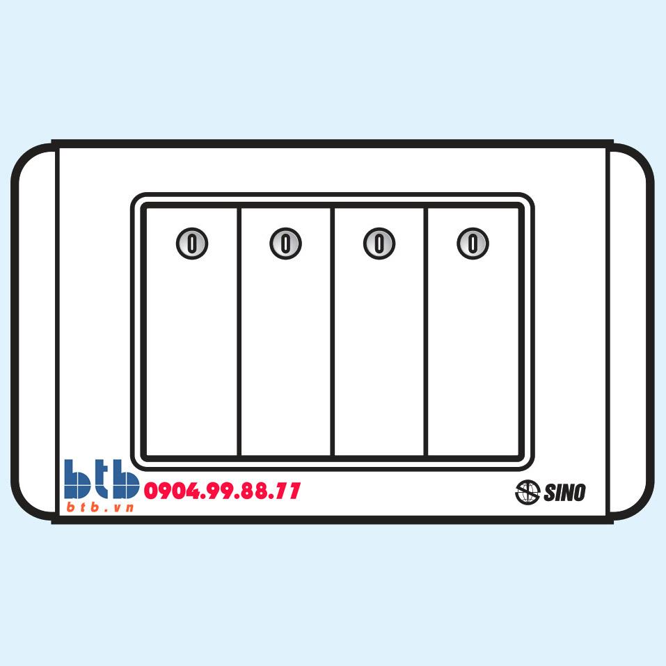Sino S68D Công tắc bốn 1 chiều phím lớn có đèn led trắng
