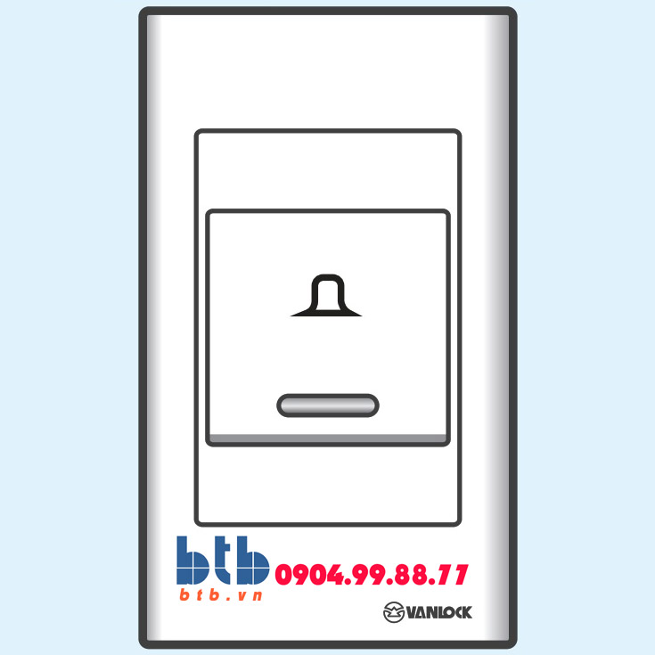Sino S18 Nút chuông bản rộng có đèn báo xanh loại dọc