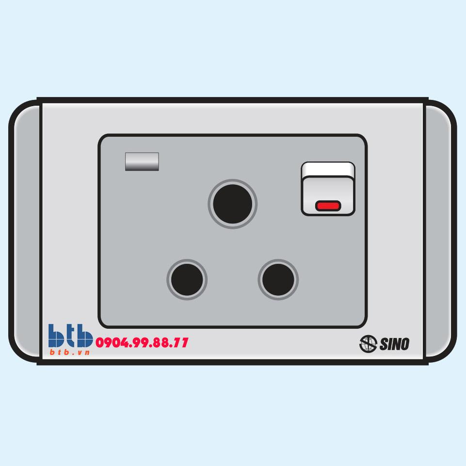 Sino S68G Ổ cắm 3 chấu tròn có công tắc + đèn báo