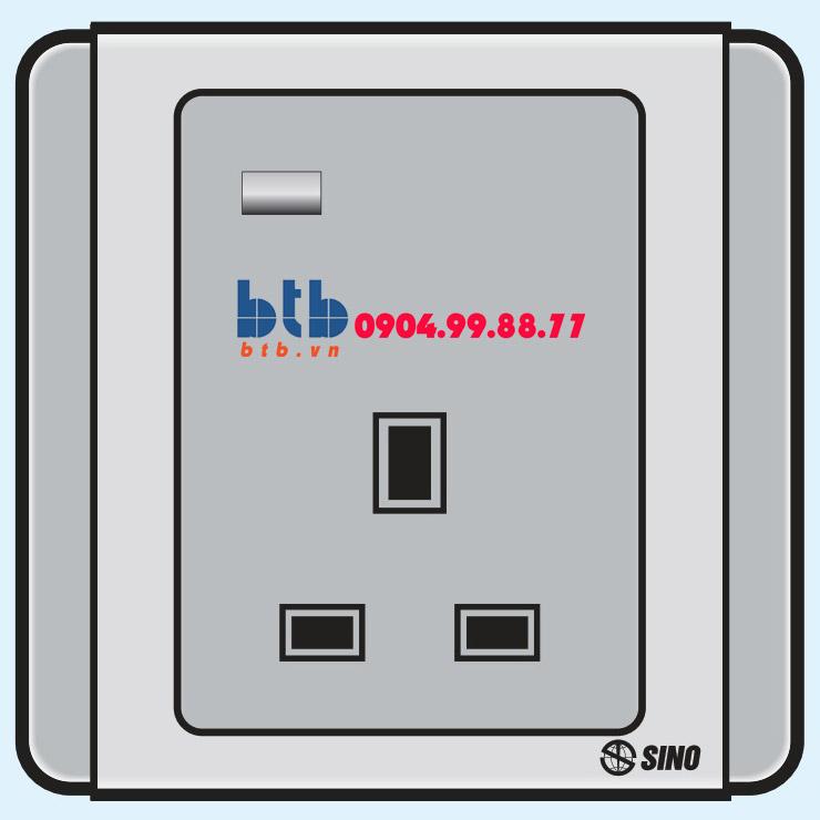 Sino S66G Ổ cắm 3 chấu vuông có đèn báo