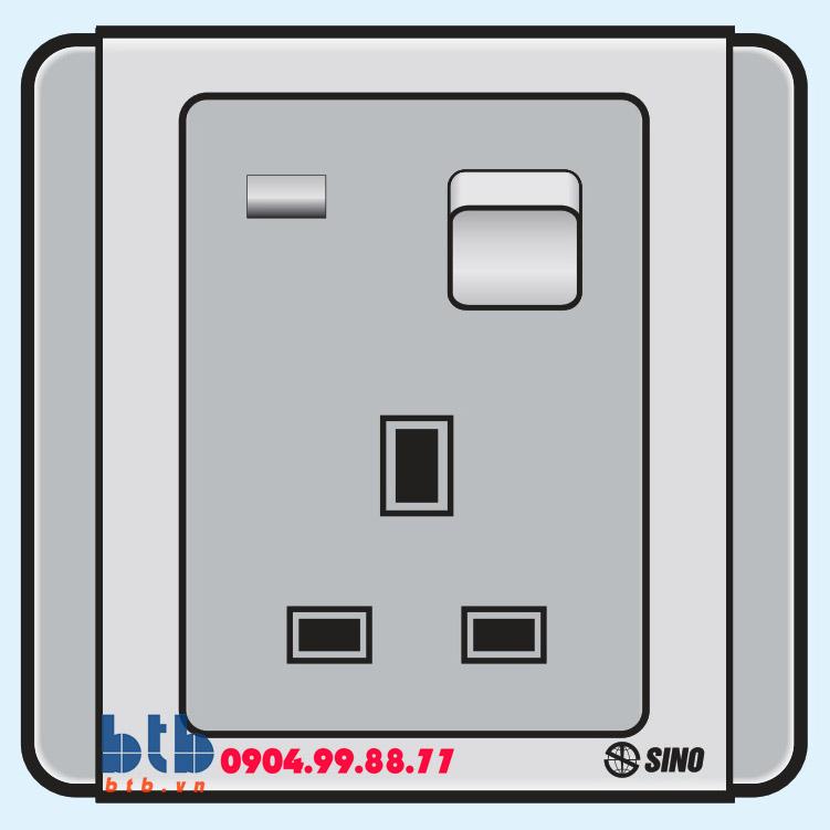 Sino S66G Ổ cắm 3 chấu vuông có công tắc + đèn báo