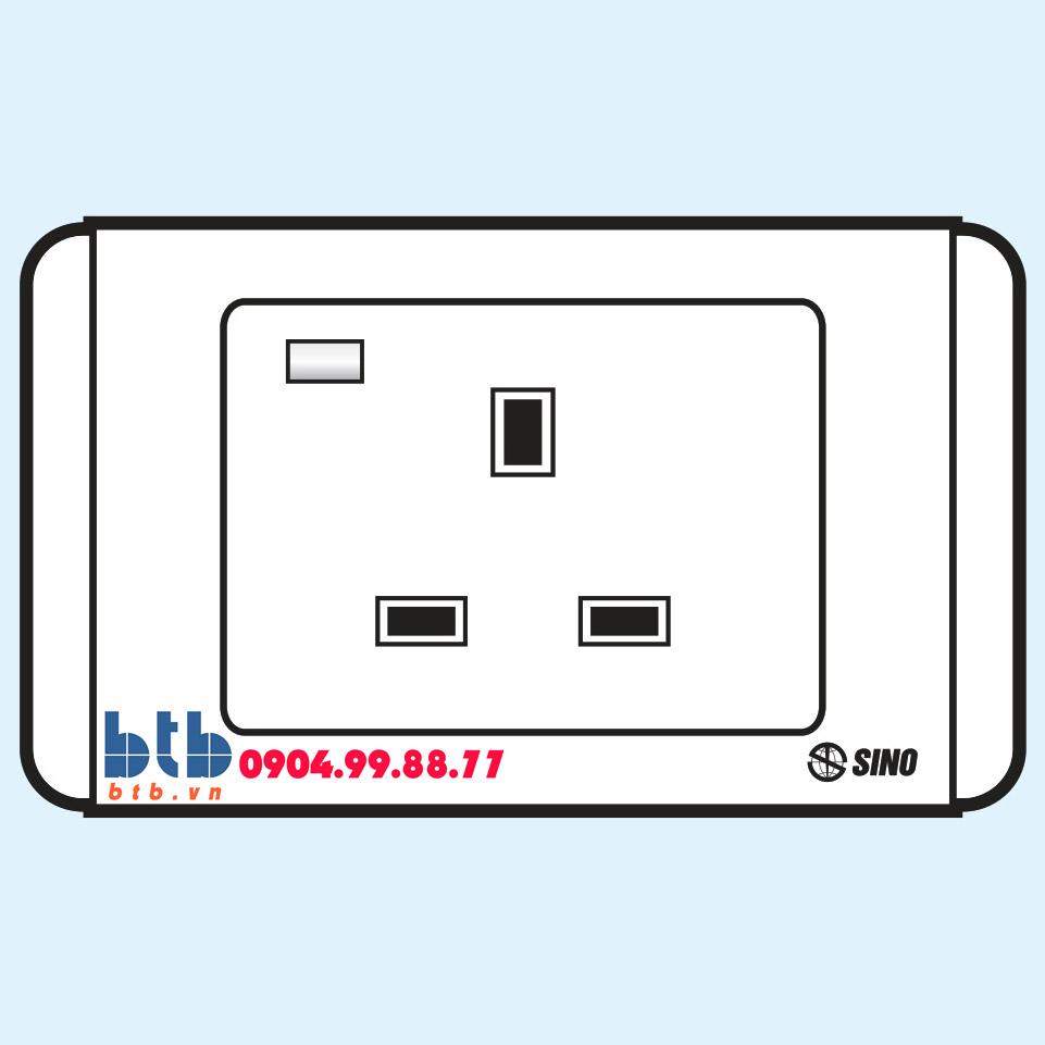 Sino S68E Ổ cắm 3 chấu vuông có đèn báo