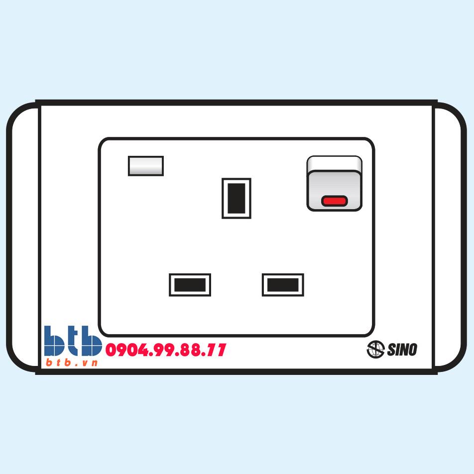 Sino S68E Ổ cắm 3 chấu vuông có công tắc + đèn báo