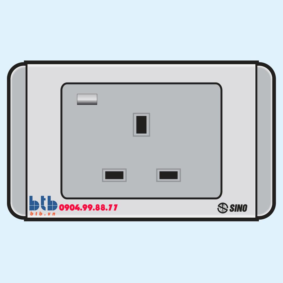 Sino S68G Ổ cắm 3 chấu vuông có đèn báo