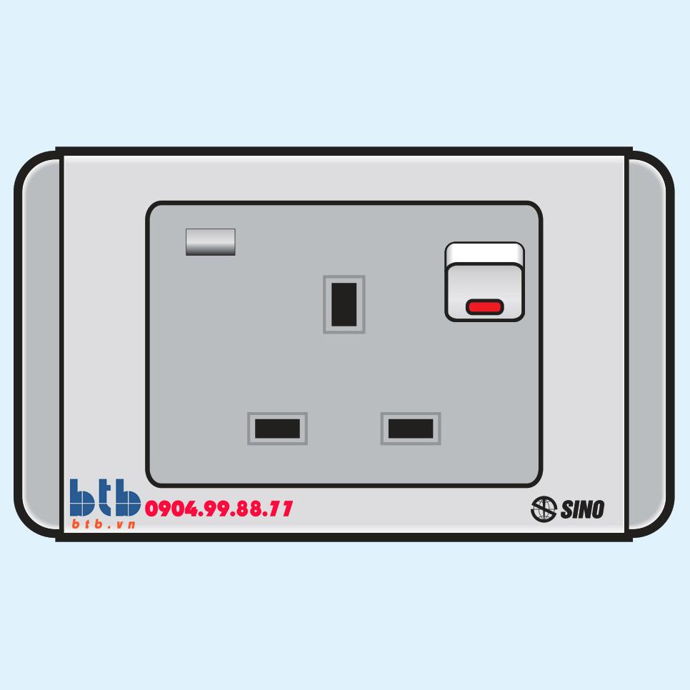 Sino S68G Ổ cắm 3 chấu vuông có công tắc + đèn báo