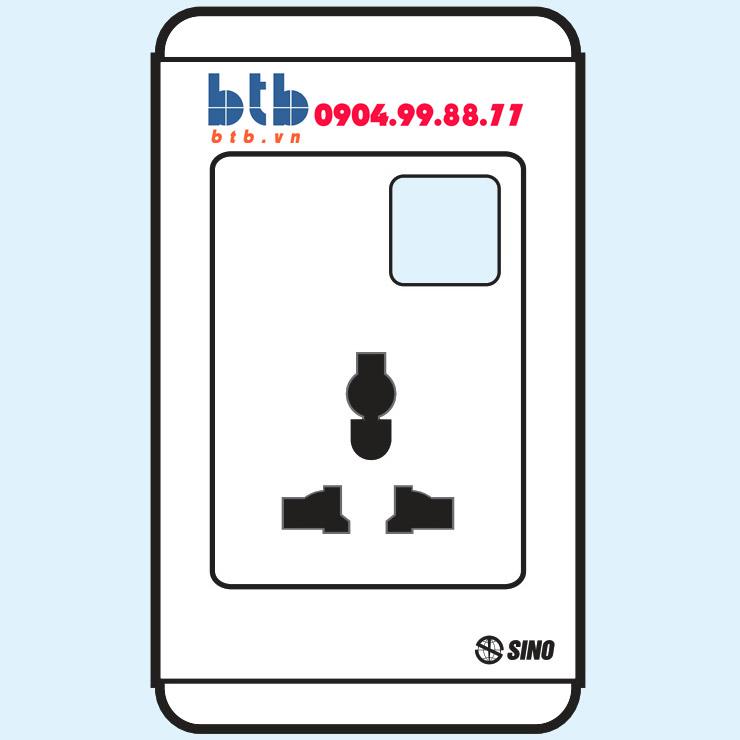 Sino S68 ổ cắm đa năng có màn che + 1 lỗ loại dọc