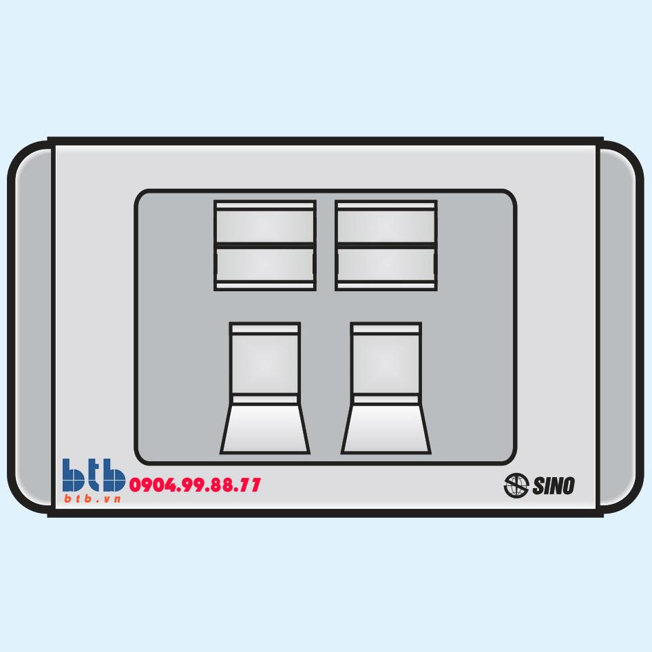Sino S68G 1 ổ cắm điện thoại 4 dây + 1 ổ cắm máy tính 8 dây có nắp che loại đôi
