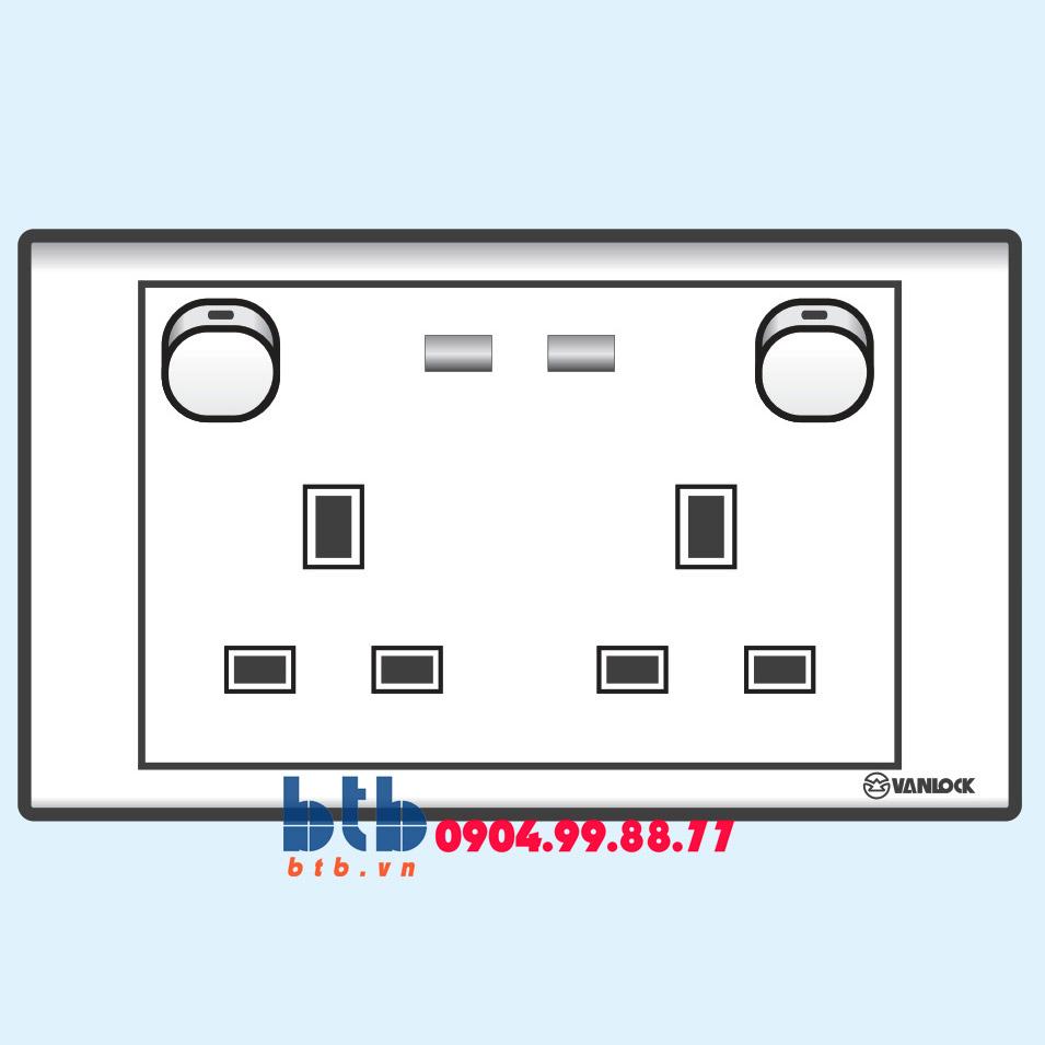Sino S18 Ổ cắm đôi 3 chấu vuông có công tắc và đèn báo