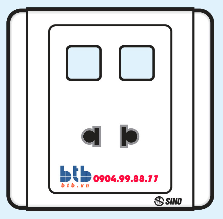 Sino S66 Ổ cắm đơn 2 chấu + 2 lỗ