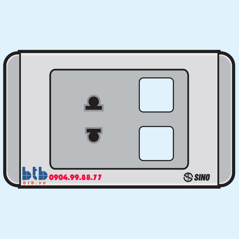 Sino S68G Ổ cắm đơn 2 chấu + 2 lỗ