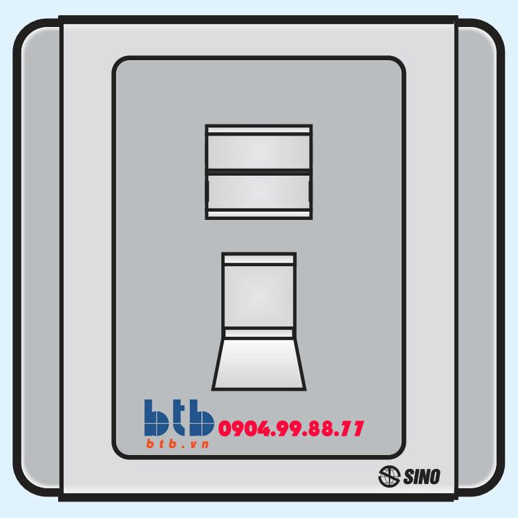 Sino S66G Ổ cắm máy tính 8 dây có nắp che loại đơn