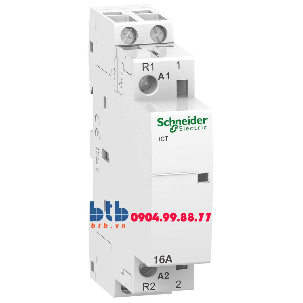 Schneider – Contactor iCT,2P, điện áp cuộn dây 230/240VAC 1NO+1NC 16A