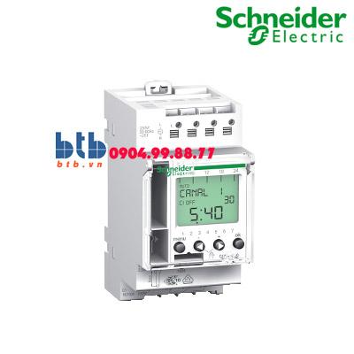 Schneider – Bộ hẹn giờ kỹ thuật số 24H và 7 ngày 2x16A, 2 input điều khiển từ xa, pin 6 năm