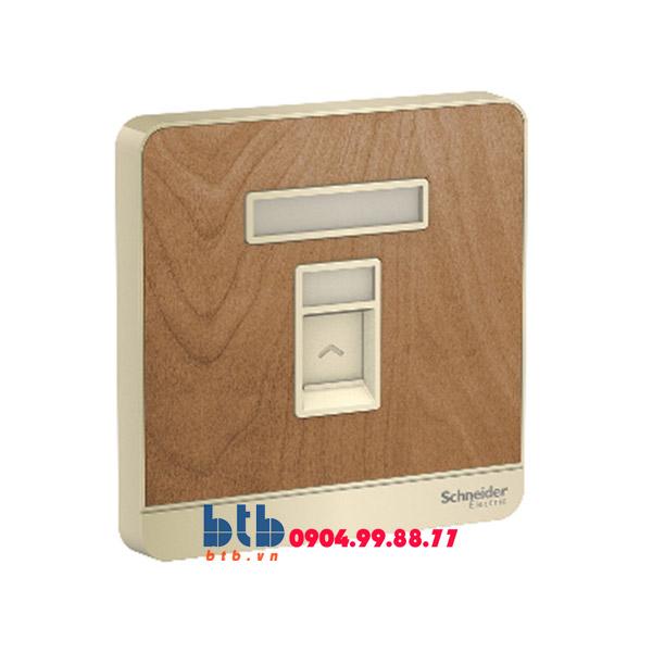 Schneider – Bộ ổ cắm điện thoại đơn màu gỗ