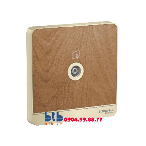 Schneider – Bộ ổ cắm TV đơn màu gỗ