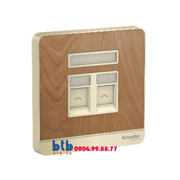 Schneider – Bộ ổ cắm điện thoại và Bộ ổ cắm mạng cat5e màu gỗ
