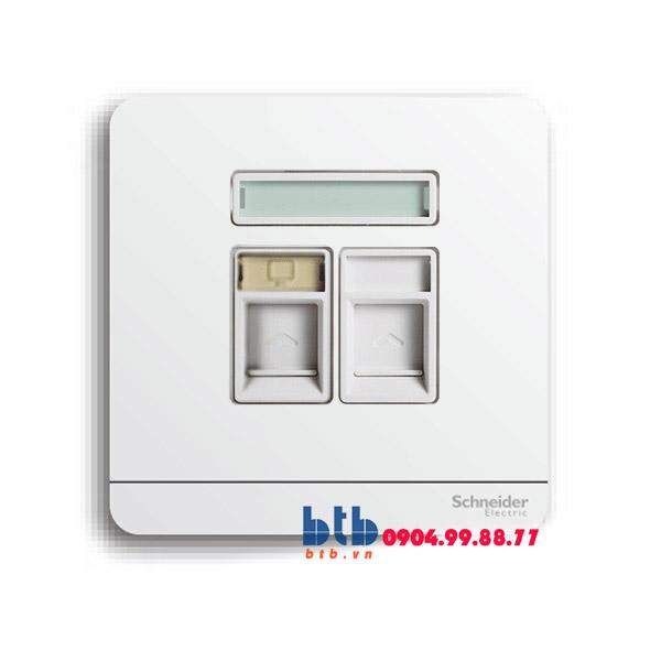 Schneider – Bộ ổ cắm điện thoại và Bộ ổ cắm mạng cat5e màu trắng