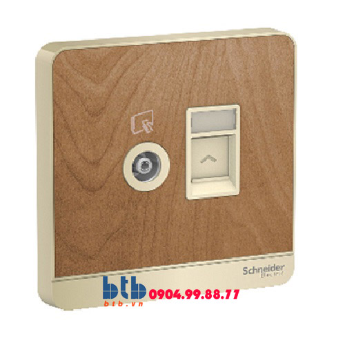 Schneider – Bộ ổ cắm TV và Bộ ổ cắm mạng cat5e màu gỗ