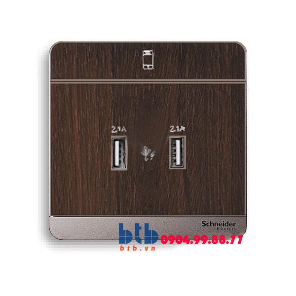 Schneider – Bộ ổ sạc USB đôi 2.1A màu gỗ