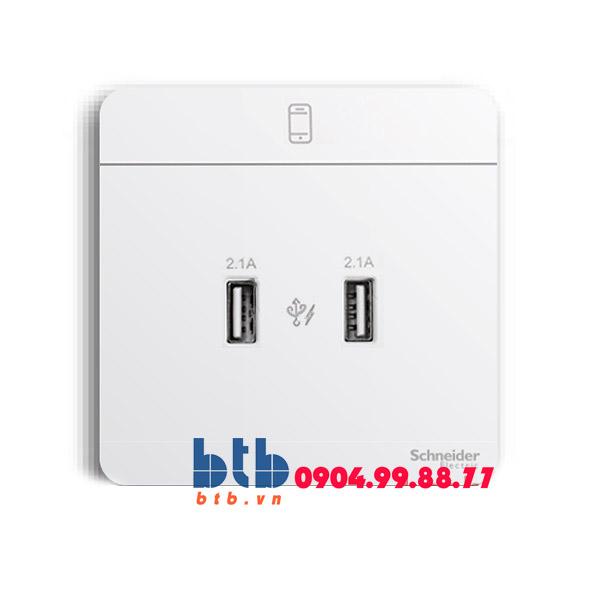 Schneider – Bộ ổ sạc USB đôi 2.1A màu trắng