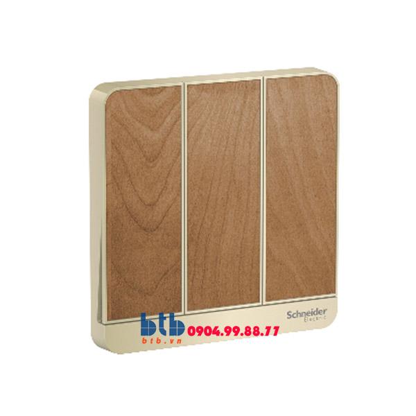 Schneider – Mặt cho 3 công tắc màu gỗ