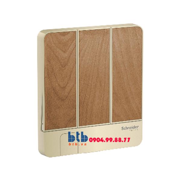 Schneider – Mặt cho 3 công tắc có móc treo chìa khóa màu gỗ