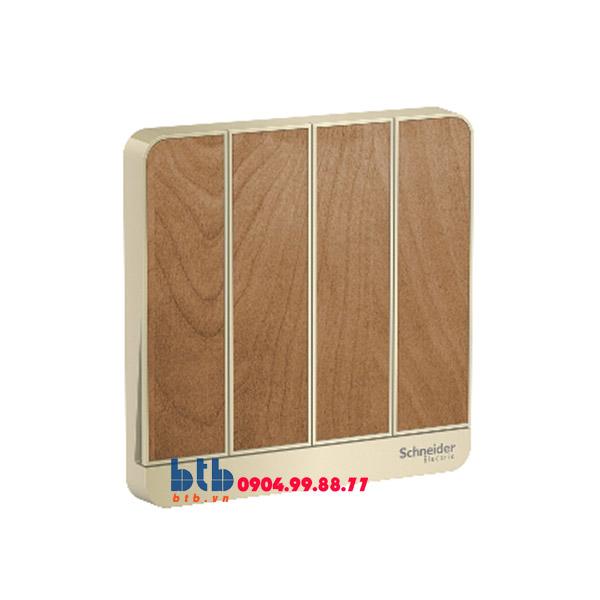 Schneider – Mặt cho 4 công tắc màu gỗ