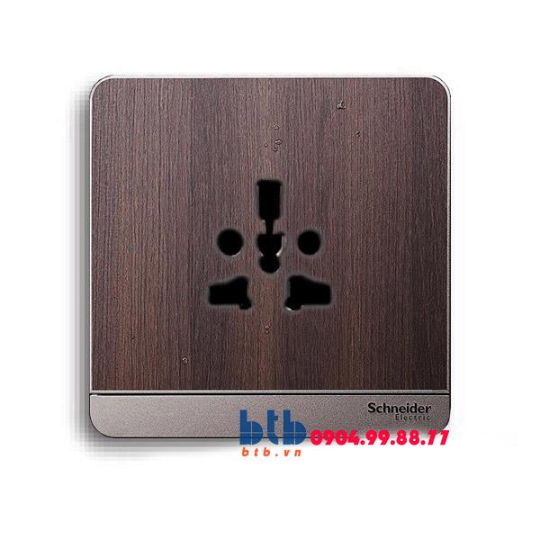 Schneider – Bộ ổ cắm đơn đa năng 16A màu gỗ