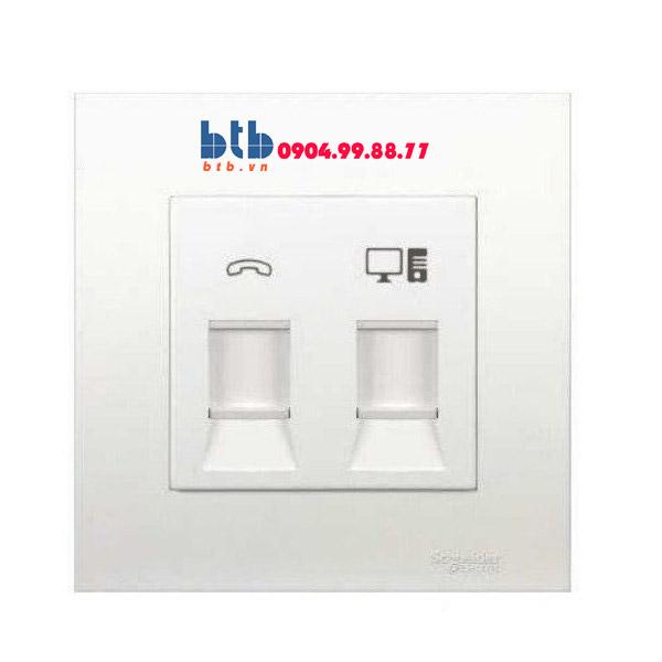 Schneider – Bộ ổ cắm điện thoại và mạng cat5e màu trắng