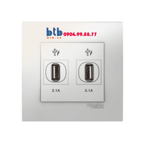 Schneider – Bộ ổ cắm sạc USB đôi 2.1A màu xám bạc