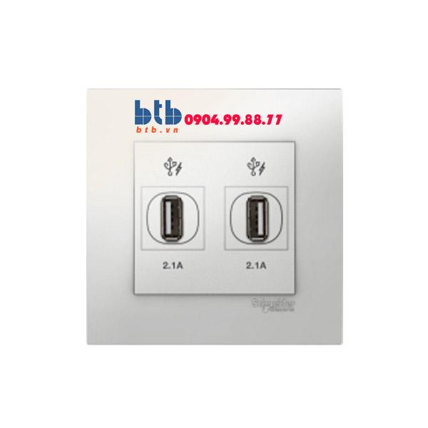 Schneider – Bộ ổ cắm sạc USB đôi 2.1A màu trắng
