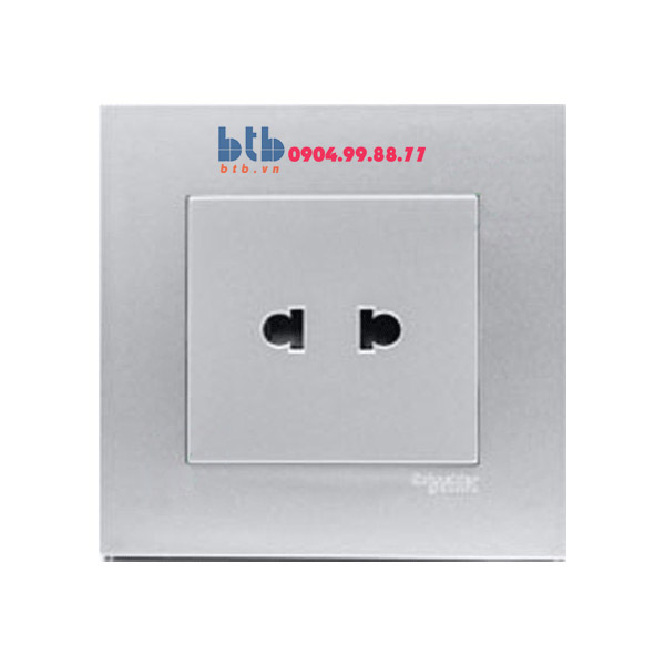 Schneider – Bộ ổ cắm đơn 2 chấu 10A màu xám bạc