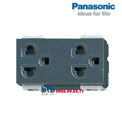 Panasonic Ổ cắm đôi có màng che và dây nối đất