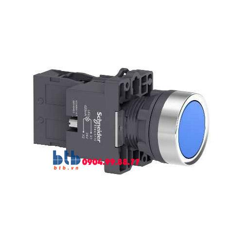 Schneider – Nút nhấn có đèn báo ø22 24V AC/DC màu xanh dương